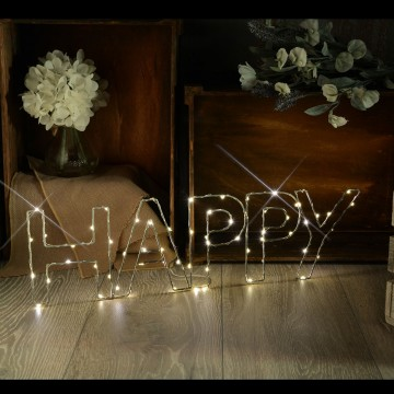 Warm White HAPPY Indoor Decoration Battery Powered LED Light...