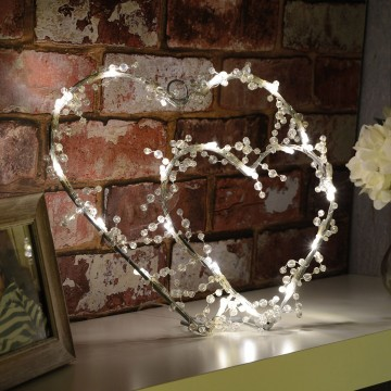 Warm White LOVE HEART Indoor Decoration Battery Powered LED Light