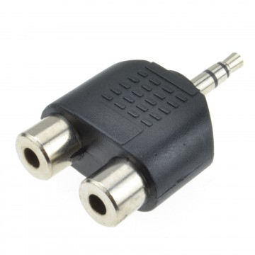 3.5mm Stereo Jack Plug to Twin Mono Splitter or Combiner Adapter