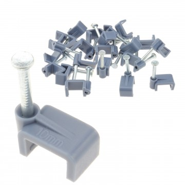 Grey FLAT 10mm Cable Clips Twin & Earth 2.5mm Core Cables Pack...