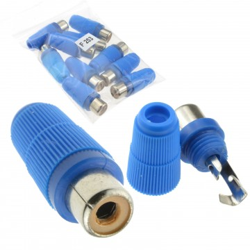 Phono RCA Socket Audio or Video Solder Termination BLUE 10 Pack