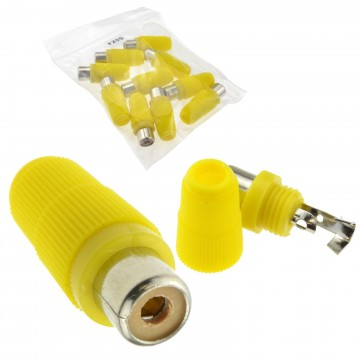 Phono RCA Socket Audio or Video Solder Termination YELLOW 10 Pack
