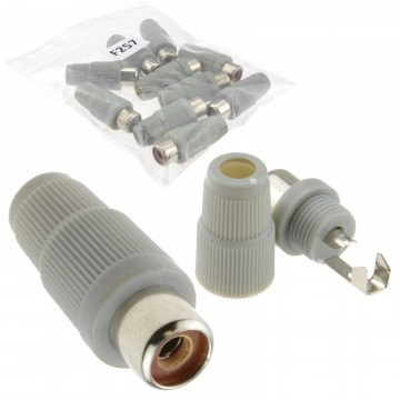 Phono RCA Socket Audio or Video Solder Termination GREY 10 Pack
