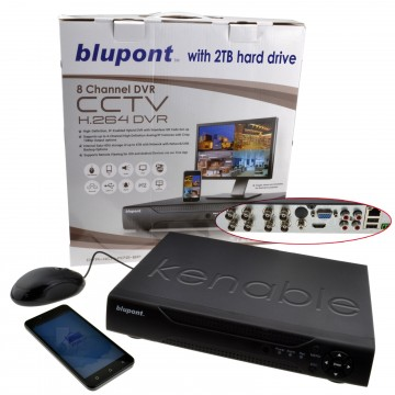 8 Channel DVR CCTV AHD Recorder Supports Android or IOS with 2TB Drive