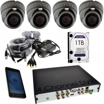 CCTV 1080P Kit 4 x Dome/Turret Cameras + 4 Channel 1TB DVR Grey