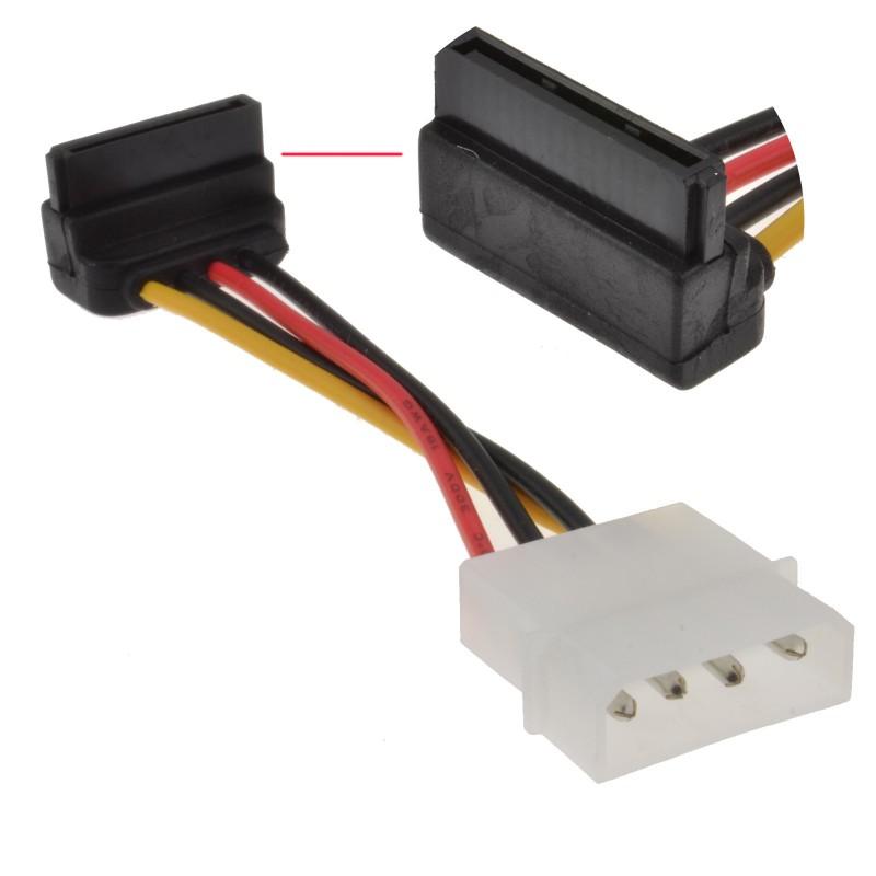 Right Angled SATA Power Converter Cable - Molex to RA SATA Power