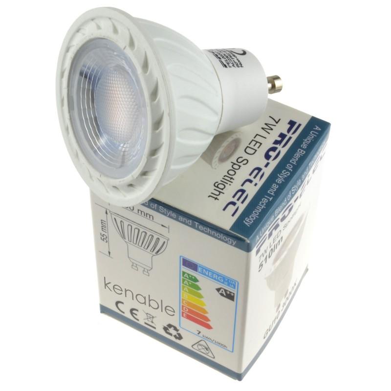 new styles 37cab 199e8 kenable LED GU10 7W 60 Degree 3000k Lamp Downlight/Spotlight Bulb W...