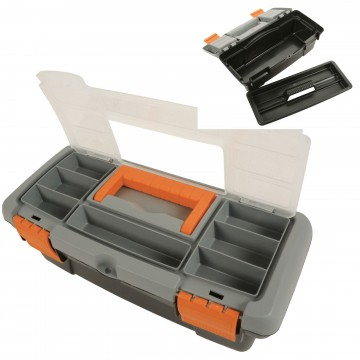 Toolbox with Removable Tray and Storage Compartment Eyehole Lid Small
