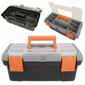 Toolbox with Removable Tray and Storage Compartment Eyehole...