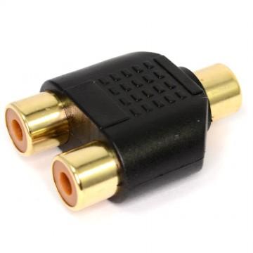 RCA Phono Twin Sockets to Single RCA Phono Socket Splitter Adapter