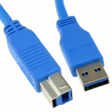 USB 3.0 SuperSpeed Cable Type Plug A to Type B Plug BLUE 1m