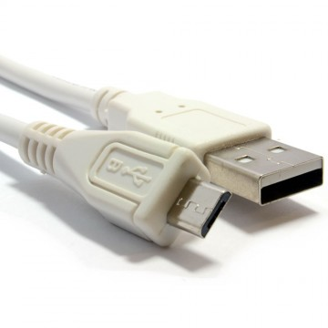 HQ Shielded USB 2.0 A To MICRO B Data and Charging Cable WHITE 1.8m