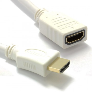 White HDMI 1.4 High Speed 3D TV Extension Lead Male to Female Cable 3m