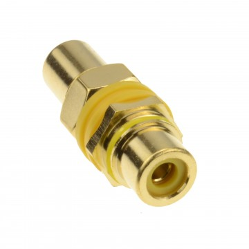 Phono RCA Panel Mount Socket Through Adapter Yellow Composite Gold