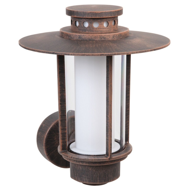 Wall-Mounted E27 IP44 Santiago 14W Outdoor Aluminium Rust CFL Lantern