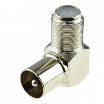 Right Angle Satellite F Type Screw Female to RF MALE Socket Adapter