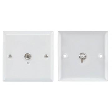 Mercury Flush Wall Mount TV RF Coaxial Socket Steel Faceplate WHITE