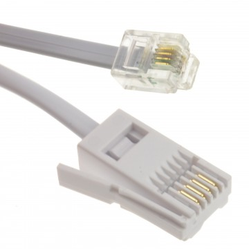 4 Wire BT Plug to RJ11 Crossover Telephone Cable 10m