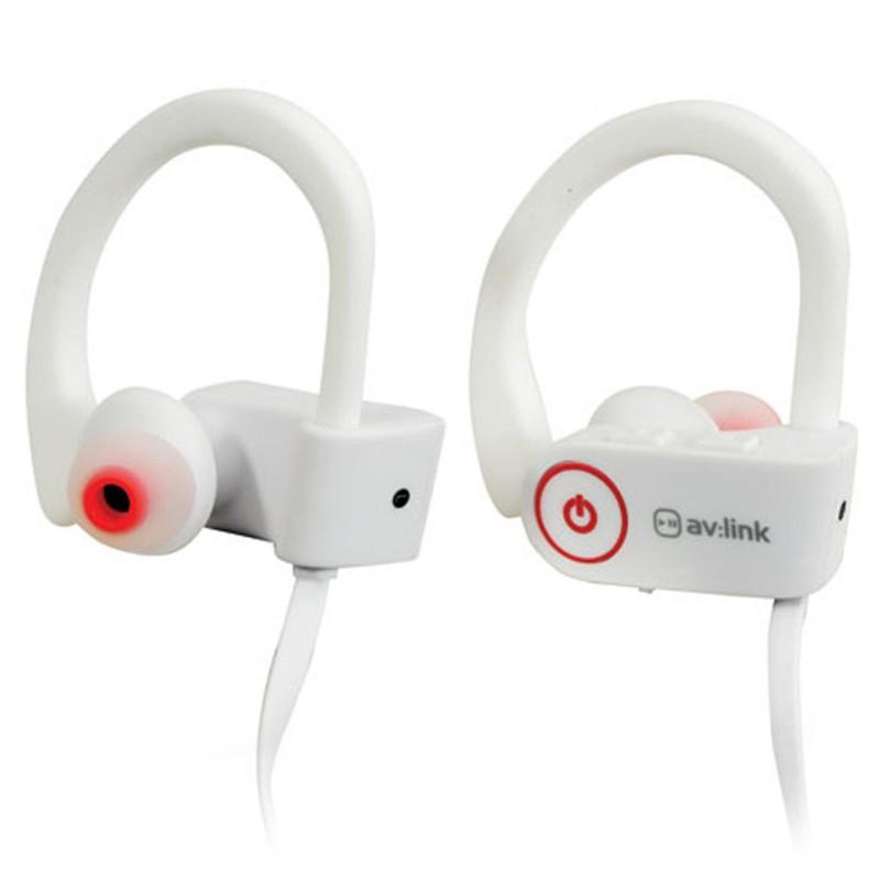 Waterproof Wireless Bluetooth Activity Gym Over Earphones & Mic White