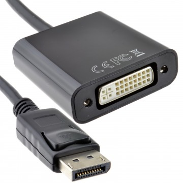 DisplayPort Male Plug to DVI-D Female Socket Adapter Lead