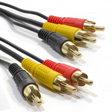 TRIPLE RCA Phono Plugs to Plugs COMPOSITE & Audio Cable Lead...