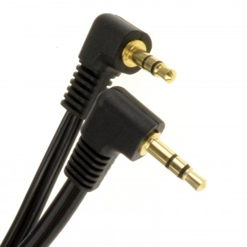 3.5mm Dual Right Angle Male Jack to Jack Stereo Audio Cable 10m