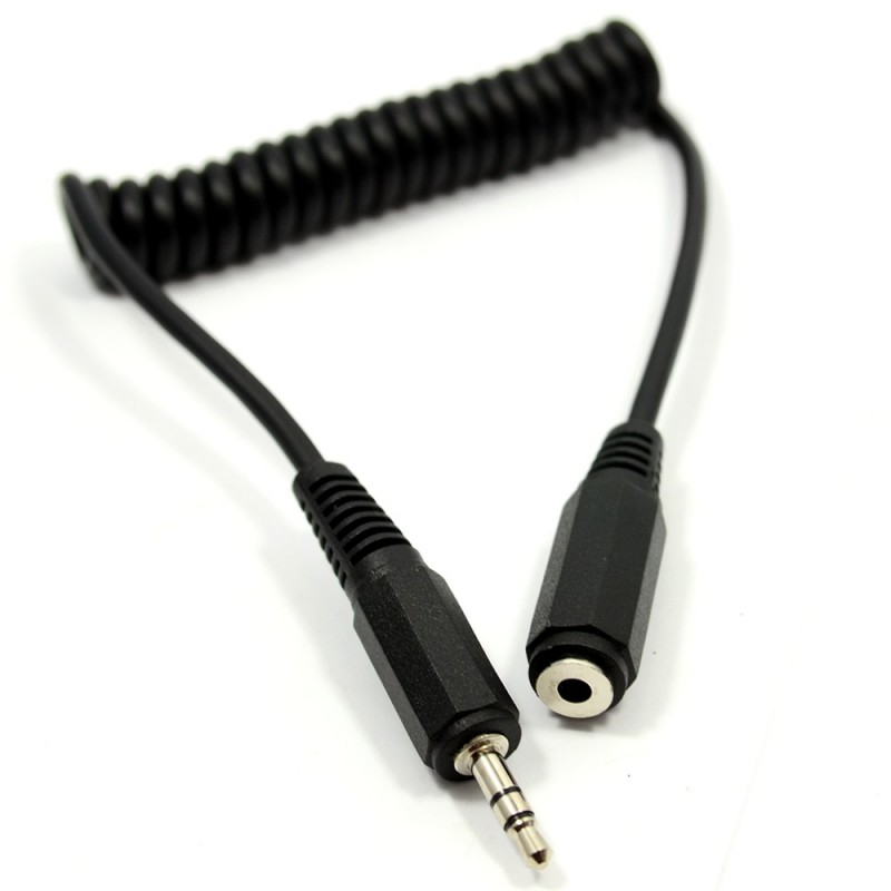 COILED 3.5mm Stereo Jack to Socket Headphone Extension Cable Lead 1m