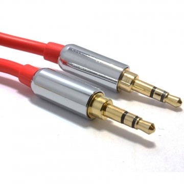 PRO RED 3.5mm Jack Male to Male Stereo Audio Cable Lead GOLD 1.5m