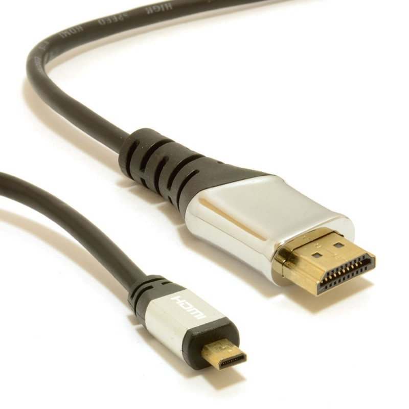 CHROME HQ METAL Micro D HDMI v1.4 High Speed Cable to HDMI 2m