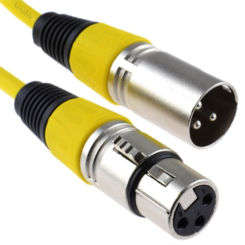 XLR 3 Pin Microphone Lead Male to Female Audio Cable YELLOW  0.5m