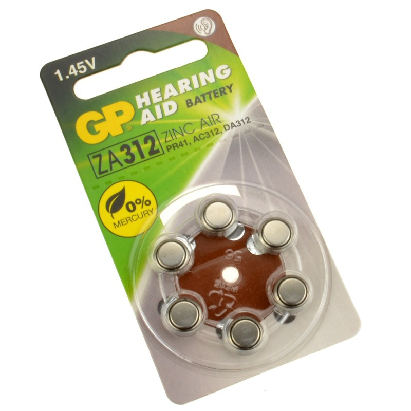GP Hearing Aid Batteries ZA312 (PR41) Brown 1.4V 125mAh 3.6x7.9mm