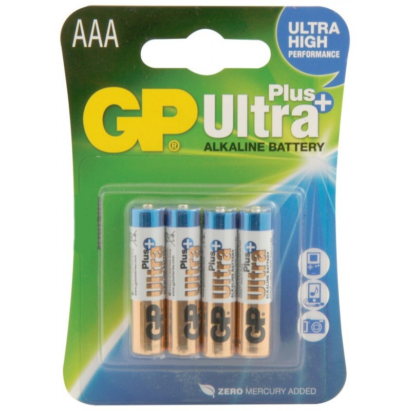GP AAA 1.5V Ultra PLUSHigh Performance Alkaline Battery [4 PACK]
