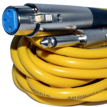 XLR Female Plug to Mono 6.35mm Screened OFC Audio Cable YELLOW 6m