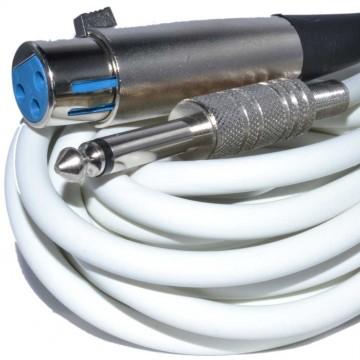 XLR Female Plug to Mono 6.35mm Screened OFC Audio Cable WHITE 6m