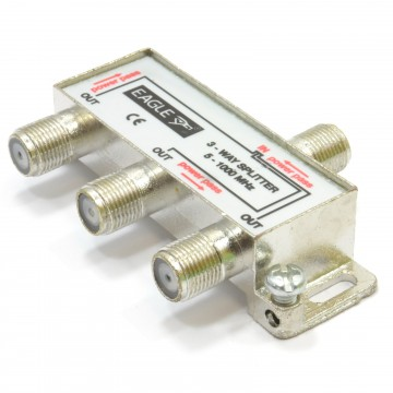 F-Type Screw Connector Splitter For Virgin Cable 5-1GHz 3 way
