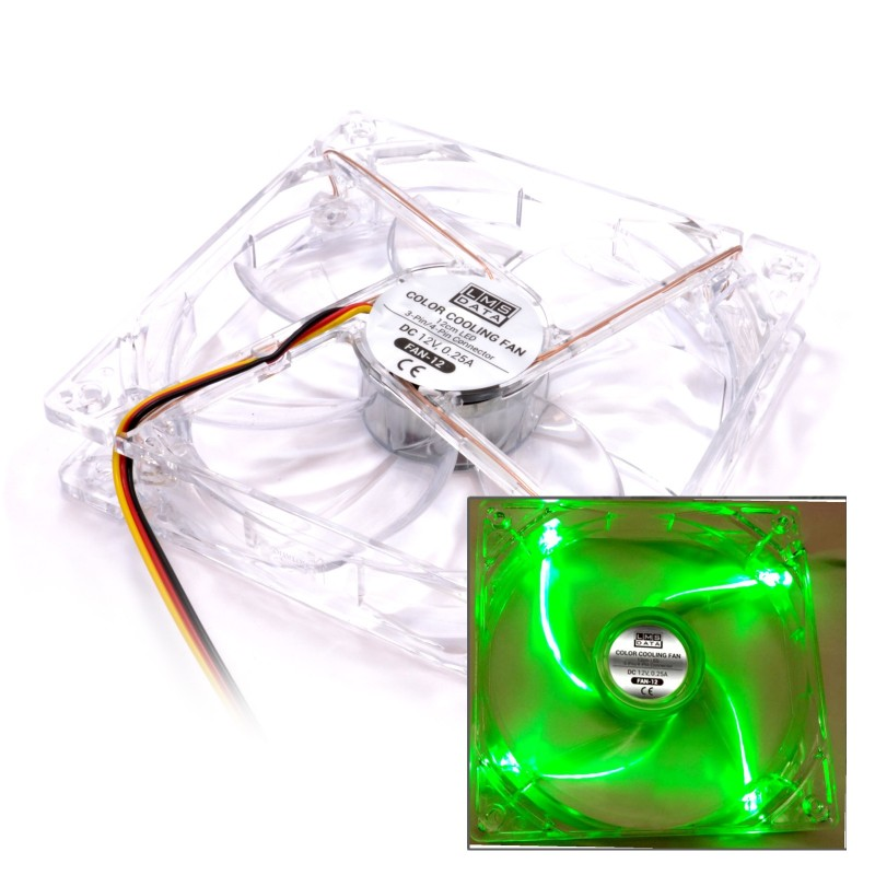 12cm 120mm 3 Pin Desktop PC Tower Fan 12V 0.25A with Molex GREEN LED