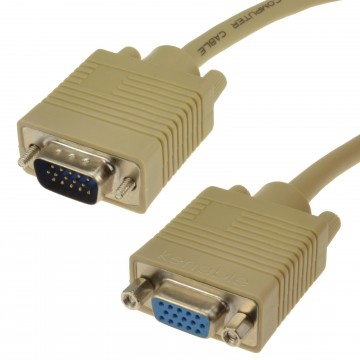 SVGA Cable HD15 Extension Lead Male to Female  3m Beige