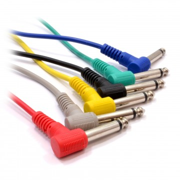 [6 Pack] 6.35mm Mono Mixing Desk Screened Patch Cables 60cm 0.6m