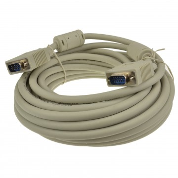SVGA Cable HD15 Male to Male PC to Monitor Lead with Ferrites 10m Grey