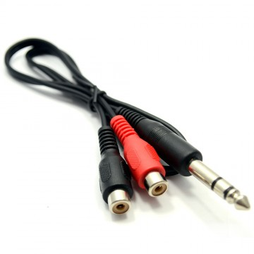 6.35mm Stereo Jack Plug to Twin Phono Sockets Adapter Cable 50cm