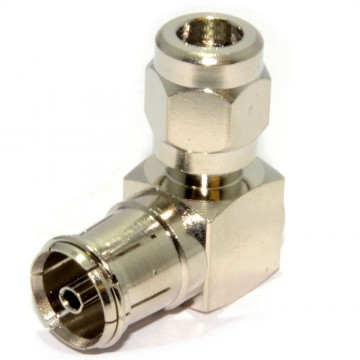 RF Coax Right Angle Socket for TV Aerial Cables - All Metal Adapter