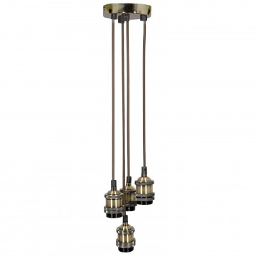 Quad E27 Antique Brass Rose Vintage Lighting Pendant with 1.8m...