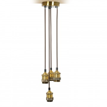 Quad E27 Antique Gold Rose Vintage Lighting Pendant with 1.8m Cables