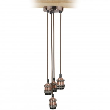 Quad E27 Antique Copper Rose Vintage Lighting Pendant with...