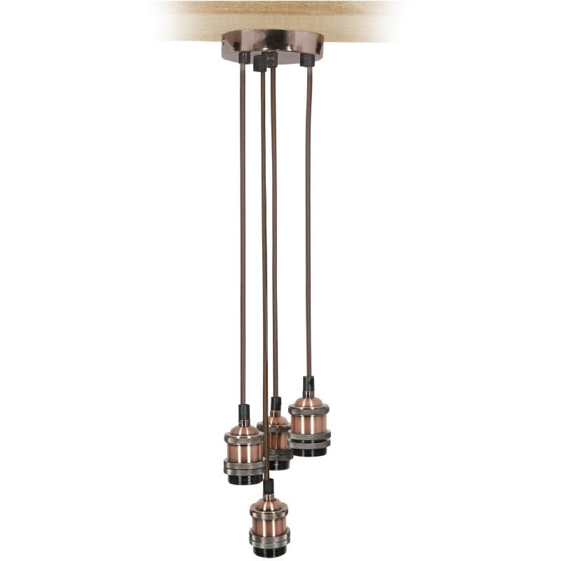 Quad E27 Antique Copper Rose Vintage Lighting Pendant with 1.8m Cables