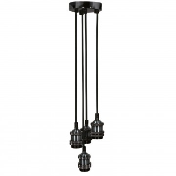 Quad E27 Black Chrome Rose Vintage Lighting Pendant with 1.8m...