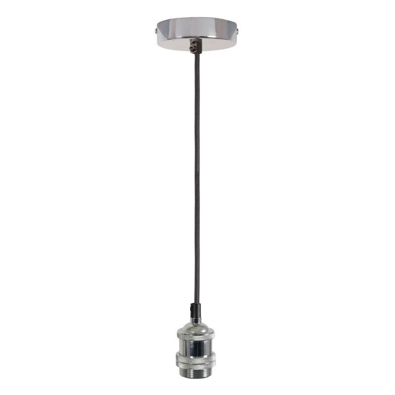 Single E27 Bright Silver Rose Vintage Lighting Pendant 1.8m Cable