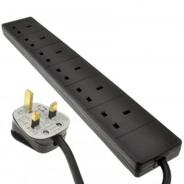 6 Gang Way UK Trailing Socket Mains Power Extension Lead Black  2m