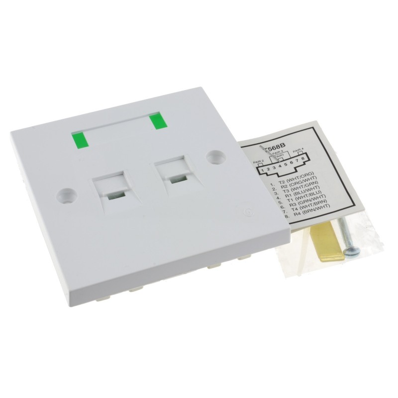 RJ45 Network Cat 5e Double RJ45 Face Plate for  UTP Ethernet Cable