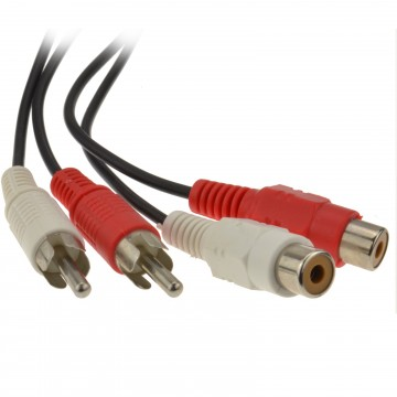 RCA Phono Twin Plugs to Sockets EXTENSION CABLE Audio Lead  1.2m